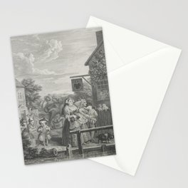 William Hogarth (1697-1764) - The Four Times of the Day (1738) - 'Evening' - engraving series Stationery Cards