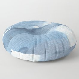 Gray Blue streaked wash drawing painting Floor Pillow