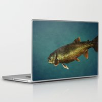 trout Laptop & iPad Skins featuring Trout on Teal Blue by Brooke T Ryan Photography