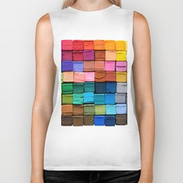 Set of colorful crayons, isolated on white background Biker Tank
