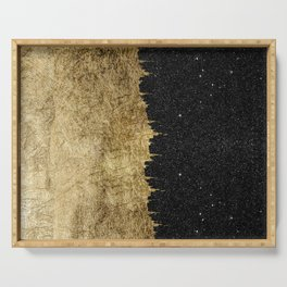 Faux Gold and Black Starry Night Brushstrokes Serving Tray