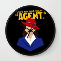 agent carter Wall Clocks featuring Agent by offbeatzombie
