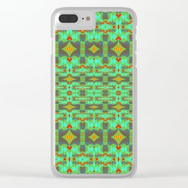 Vintage Psychedelic Kitsch Pattern Green Clear iPhone Case