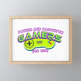 Father and Daughter Gamers For Life Framed Mini Art Print