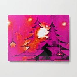 Bright Christmas Forest Metal Print