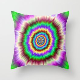 Color Explosion in Violet and Green Throw Pillow