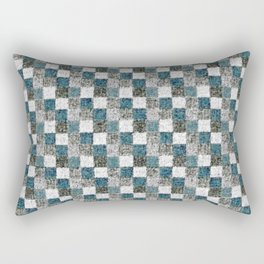 Rustic Gray Turquoise Green Beige Patchwork Rectangular Pillow