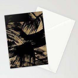 Elegant black faux gold modern brushstrokes pattern Stationery Cards