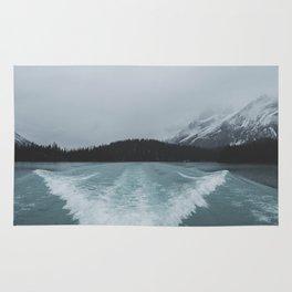 Maligne Lake Boating | Landscape Photography By Magda Opoka | Minimalism Rug
