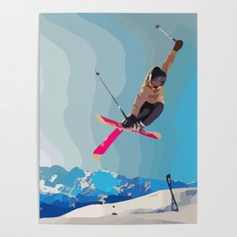 Man jumps with skies on piste with mountains and sky background Poster