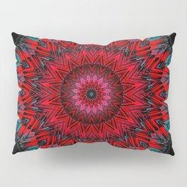 Vibrant Red Mandala Design Pillow Sham