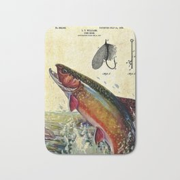 Vintage Trout Fly Fishing Lure Patent Game Fish Identification Chart Bath Mat