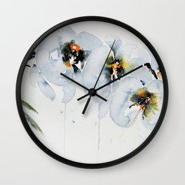 White Orchid in Watercolor Wall Clock