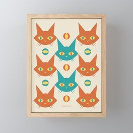 Mid-century Modern Abstract Cat Pattern, Vintage Cats in Orange and Teal Color Framed Mini Art Print