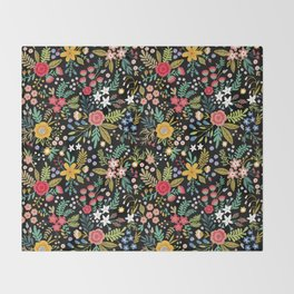 Amazing floral pattern with bright colorful flowers, plants, branches and berries on a black backgro Throw Blanket