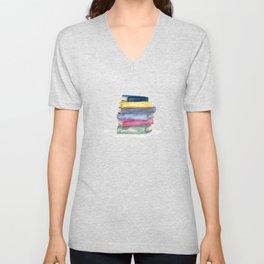 Stack of Books   Watercolor   Art Unisex V-Neck