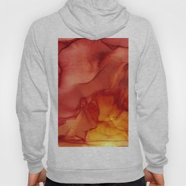 Red Sunset Abstract Ink Painting Red Orange Yellow Flame Hoody