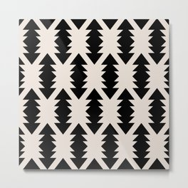 Southwest Criss Cross Pattern in Black and Off White Almond Metal Print
