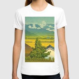 Kawase Hasui Vintage Japanese Woodblock Print Beautiful Mountain Valley Farmland Yellow Hues T-shirt
