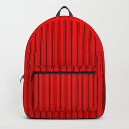 bff9c3636c Mattress Ticking Striped Pattern Jet Black on Red Backpack