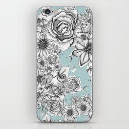 B&W Flowers Blue iPhone Skin