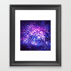 TRIBAL LEOPARD GALAXY Animal Print Aztec Native Pattern Geometric Purple Blue Ombre Space Galactic Framed Art Print