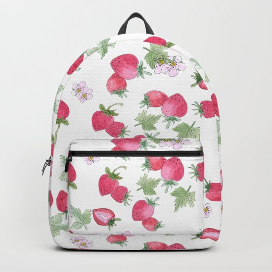 Watercolor . Strawberry on a White background . Backpack