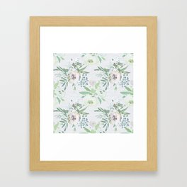 Blush pink white green watercolor modern floral berries pattern Framed Art Print
