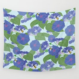 Glory Bee - Vintage Floral Morning Glories and Bumble Bees Wall Tapestry