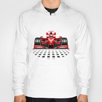 formula 1 Hoodies featuring Formula 1 Red Race Car by BluedarkArt