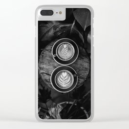 Coffees (Black and White) Clear iPhone Case