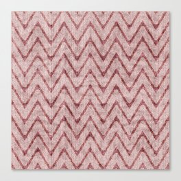 Rich Dusty Pink Zigzag Faux Velvet Chevron Canvas Print