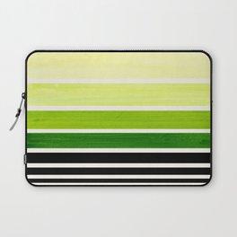 Sap Green Minimalist Mid Century Staggered Stripes Rothko Color Block Geometric Art Laptop Sleeve
