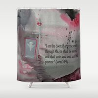 religious Shower Curtains featuring The Door----Religious Abstract Art --- John 10:9 --- by Saribelle Rodriguez by Saribelle Inspirational Art