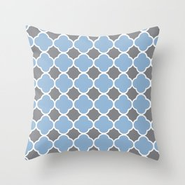 Grey and Airy Blue Quatrefoil Throw Pillow