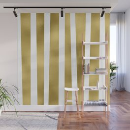 Gold unequal stripes on clear white - vertical pattern Wall Mural