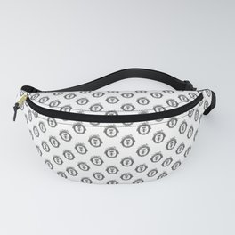 Queen Bee | Vintage Bee with Crown | Black, White and Grey | Fanny Pack