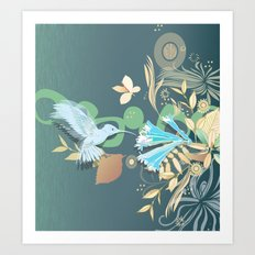 Hummingbird leaf tangle Art Print