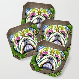 English Bulldog - Day of the Dead Sugar Skull Dog Coaster