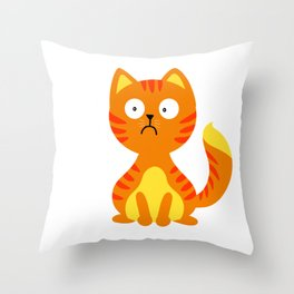 Scared cat - fat cat Throw Pillow