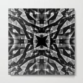 Kaleidoscopic of chaotic black and white glass fragments, irregular cubic figures and ice floes. Metal Print