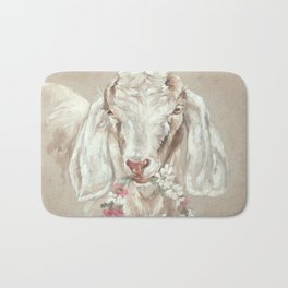 Goat with Floral Wreath by Debi Coules Bath Mat