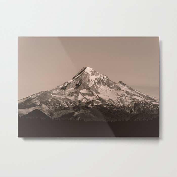 Mount Hood - Black and White - nature photography Metal Print