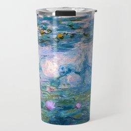 Water Lilies Monet Teal Travel Mug