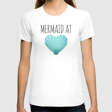 Mermaid At Heart     Teal MEDIUM Womens Fitted Tee White