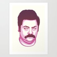 swanson Art Prints featuring Ron Swanson by Kristjan Lyngmo