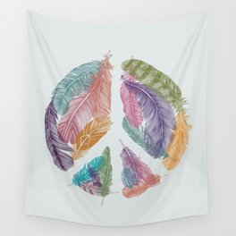 Feathers for Peace (Peace Sign) Wall Tapestry