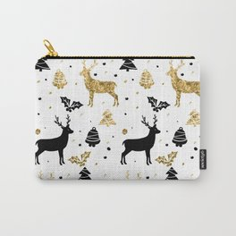 Gold and black reindeer Christmas pattern Carry-All Pouch