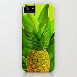 MODERN GREEN HAWAIIAN PINEAPPLE ART iPhone Case