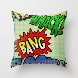 Comic Sounds Throw Pillow